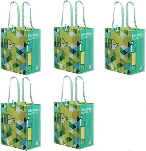 Earthwise Wiederverwendbare Einkaufstasche, Größe XL, aus recycelten Kunststoff-Flaschen, umweltfreundlich, strapazierfähig, 5 Stück