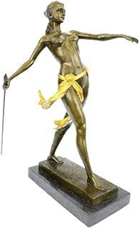 Handmade European Bronze Sculpture Art Deco Nude Female Gilt Diana Hunter Huntress Marble Base Art Bronze Statue -STE-109BG-Decor Collectible Gift
