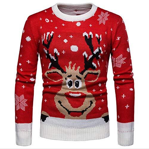 HXYF Noël élans Knit Pull Hommes et Les Femmes à Manches Longues en Tricot Pull-Over Chaud Chandails de Couleur Unie Dongkuan Sports de Plein air décontracté de Chaleur perméable à l'air,XL