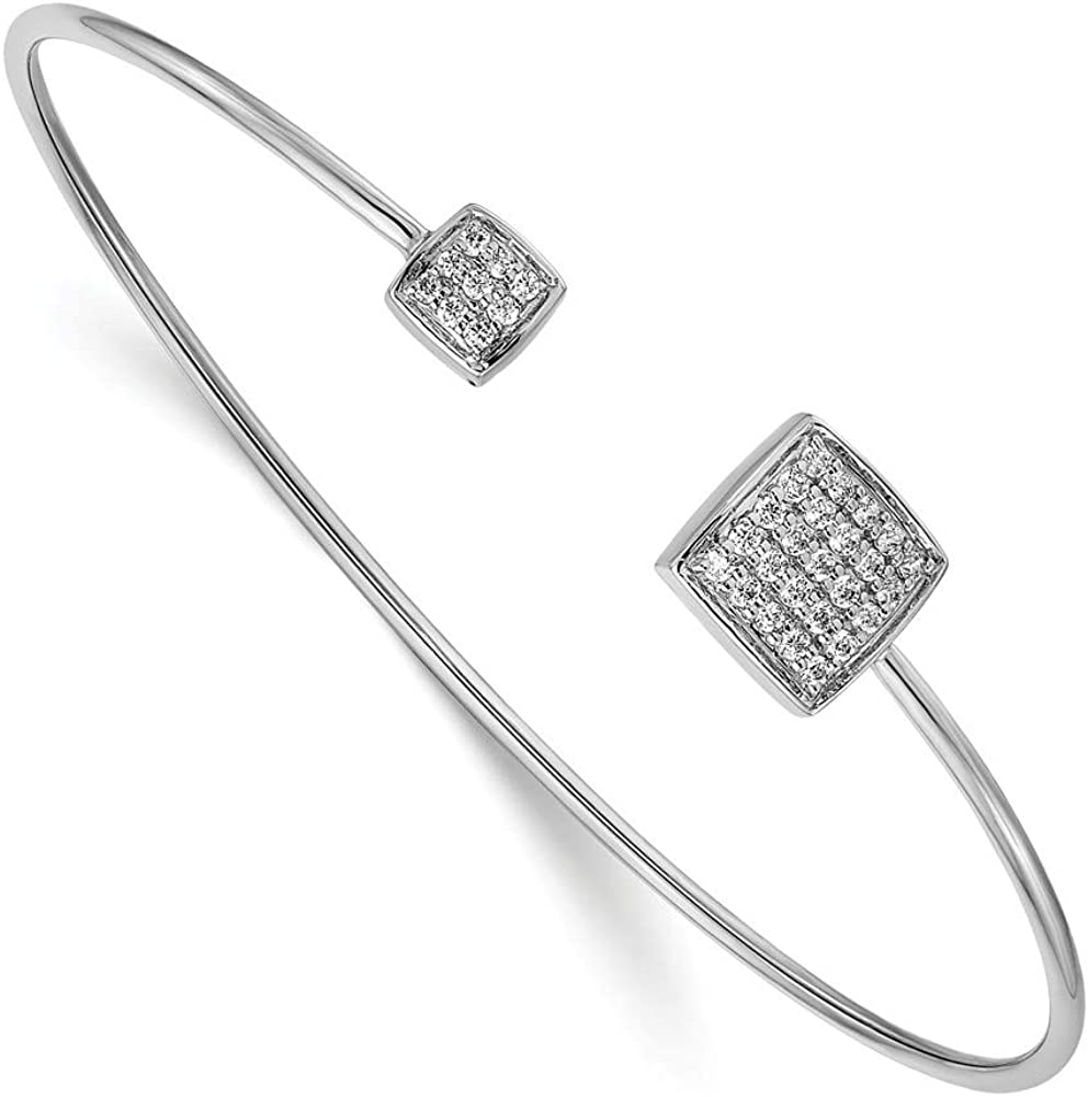 Solid 14k White Gold Diamond Flexible Bangle Cuff Bracelet - with Secure Lobster Lock Clasp 7