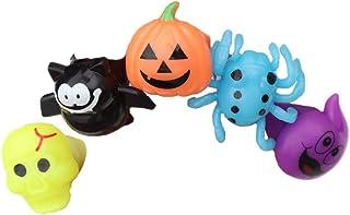 Amosfun 5pcs Zucca Anello di barretta Luminoso Pipistrello di Halloween Anelli Fantasma Divertenti Anelli Luminosi LED bom...