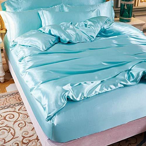 geek cook Bed Sheet Set,Light summer bed ice silk four-piece tencel bed sheet naked sleeping silk satin-Sky Blue_1.5m bed sheet (quilt cover 200x230cm)