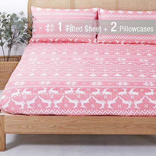 YEPINS Microfiber Fitted Sheet for Christmas Holidays, 3 Piece(1 Fitted Sheet and 2 Pillowcase), Reindeer and Snowflake Pattern Design, Pink Color- Queen Size