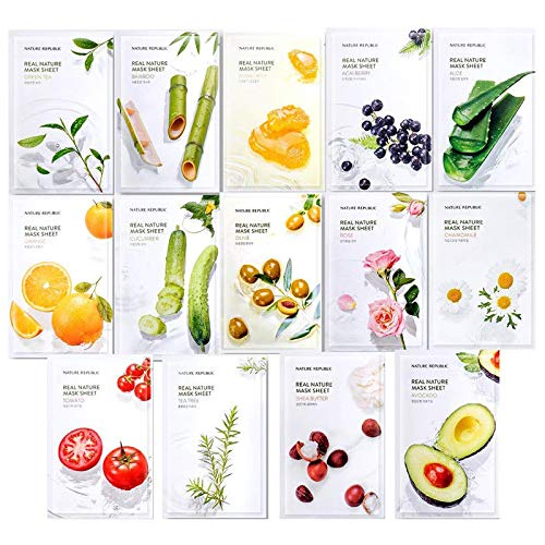 Nature Republic Real Nature Mask Sheet (14 typen), natuurlijk made Freshly verpakt Koreaans gezichtsmasker, natuurlijk plantenextract (verpakking van 14) [Renewal]