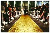 ShinyBeauty Gold Aisle Runners 2FTx15FT Carpet Runner for Party Glitter Runner for Wedding Aisle Runner Gold N105