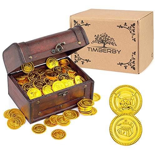 Timberby Holz Schatztruhe – Kleine Mini Schatzkiste Vintage Deko Schatz Kiste Hochzeit, Geburtstag Kindergeburtstag, 18x13x12cm, Bonus: 100 Schatzmünzen