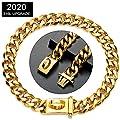 "Tobetrendy Gold Dog Collar 18K Cuban Link Choke Chain Collar Metal with Buckle Strong Chew Proof Walking Pitbull Collar(15MM, 20"")"