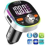 Transmisor FM Bluetooth V5.0, Adaptador de Radio de Coche 2 USB Puertos, Carga Rápido PD3.0 con Micrófono y Altavoz, Siri Google, Efectos de bajo, funci¨®n de Memoria, con 7 Modos de luz de Colores
