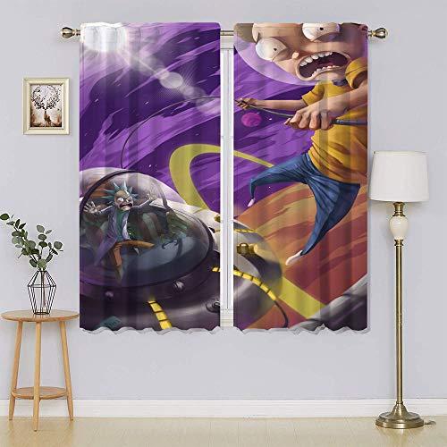 lacencn Rick and Morty - Cortina con ojales de eficiencia energética para dormitorio, 55 x 45 cm