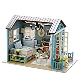 Joylive Handmade Miniature Dollhouse 3D Wooden DIY Kit Mini House Craft with Light Festive Christmas Birthday Gift - Blue Countryside