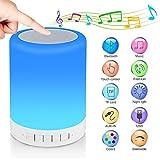 RAGZAN, lampada da comodino portatile con altoparlante Bluetooth, luce tattile, luce notturna regolabile RGB, luce da campeggio, regalo per uomini, donne e bambini