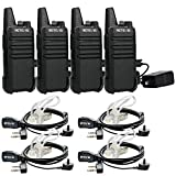 Retevis RT22 Walkie Talkies with Earpiece, Two Way Radio Long Range, Mini Walkie Talkies for Adults, Rechargeable with USB Charger, VOX Handsfree, for Family Camping Hiking Road Trip (4 Pack, Black)