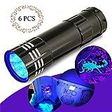 Torcia a luce nera, torcia UV, rilevatore di urine per animali domestici, ad asciugatura rapida, per urina, letto, cimici e macchie, alimentato da 3 batterie AAA 6PC