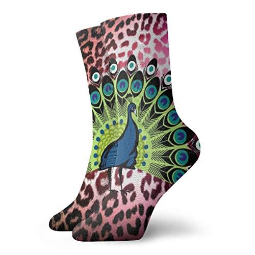 BJAMAJ Unisex Sokken Kleurrijke Luipaard Print Behang Interessant Polyester Crew Sokken Volwassene Sokken Katoen