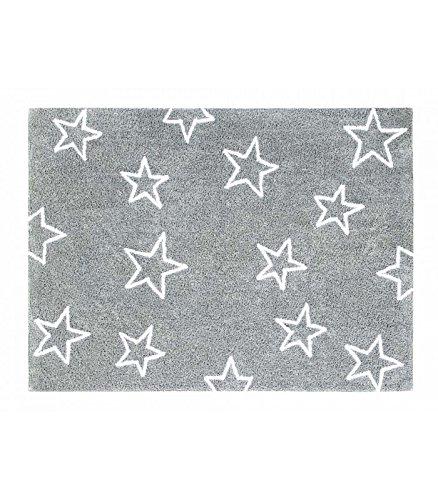 Happy Decor Kids -Alfombra Lavable Stars 100% Algodón Natural -Gris Claro- 160x120 cm