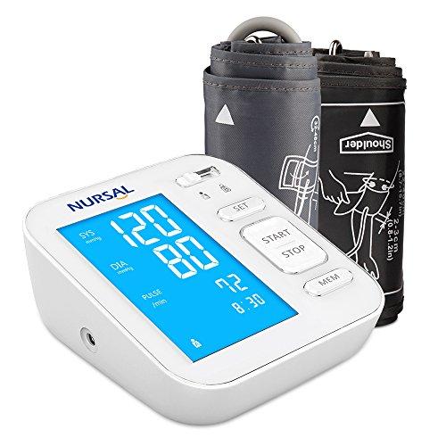 NURSAL Monitor digitar de presión arterial actualizado para el brazo superior con cable de alimentación USB Gran pantalla digital retroiluminada para 2 usuarios (2 * 120 de almacenamiento)