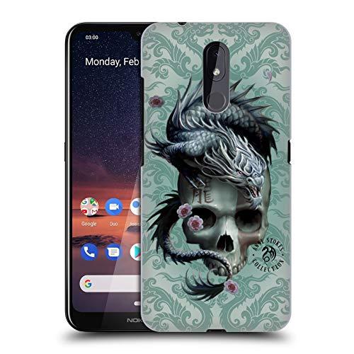 Officiële Anne Stokes Groene Draak Wervelingen Oosterse schedel Hard Back Case Compatibel voor Nokia 3.2