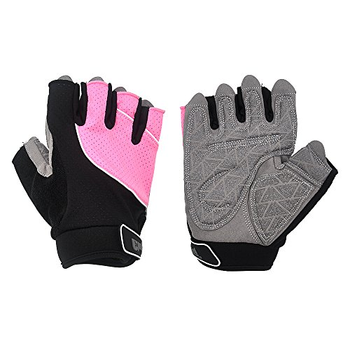 "ELUTONG Weight Lifting Cycling Training Gloves Workout Exercise Body-Building Cross-fit Anti-Slip Leather Palm Gloves for Pull-ups Dumbbell Spinning Climbing Bike Man & Women (Pink, Medium 7.1-7.7"")"