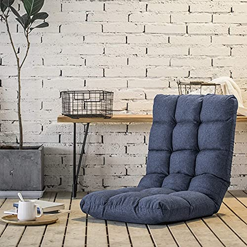 FLOGUOOR Reading Chair, Floor Chair with Back Support, Adjustable 14 Angles Padded Single Sofa Bed Chair for Gaming, Relaxing, Especially Suitable for Small Rooms (Dark Blue) 8812