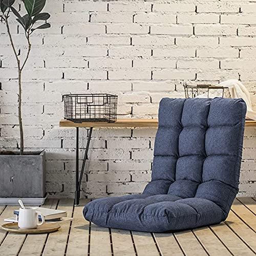FLOGUOOR Lesestuhl Bodenstuhl mit Rückenstütze verstellbar 42 Winkel Gepolstert Einzelsofabett Stuhl für Gaming, Relaxen, besonders geeignet für kleine Räume (dunkelblau) 8812
