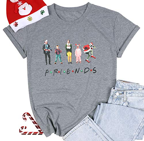Christmas Friends Shirt Women Funny Christmas Holiday T-Shirt Movies Novelty Graphic Casual Short Sleeve Top Tee Blouse Gray