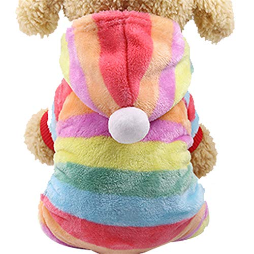 DAYOLY Kerst Hond Kostuums Hoodie, Warm Huisdier Kostuum Puppy Regenboog Jumpsuit Bovenkleding Sweatshirts Kleding Hoodie voor Teddy, Yorkshire Terrier, Chihuahua, S