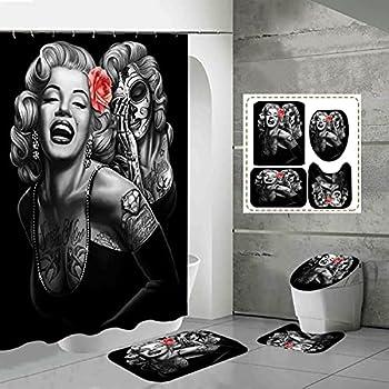 Sexy Marilyn Monroe Sugar Skull Shower Curtain,4pcs Marilyn Monroe Tattoo Shower Curtain Set With Non-slip Rugs,waterproof Fabric Shower Curtains For Bathroom With Hooks,bathroom Decor,72x72inch,black