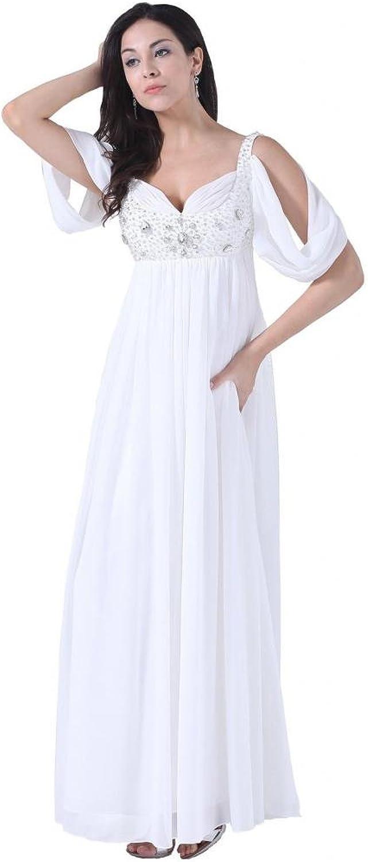 Dearta Women's Empire VNeck Short Sleeves FloorLength Wedding Dresses