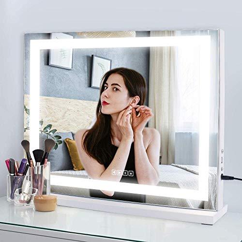 KJDSW Luces Espejo cosmético y Pantalla táctil Regulable y extraíble Espejo de tocador con rotación de 180 ° con Aumento 10X con Luces