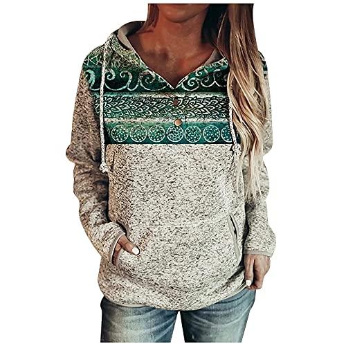 ASDVB Chaquetas de invierno para mujer, sudadera con capucha, sudadera informal, túnica, de manga larga, para el tiempo libre, verde, S
