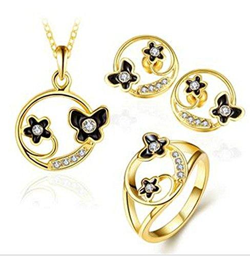 Aeici Set di Gioielli per Donne Oro Orecchini A Forma di Farfalla Intarsiata Con Cz Orecchini 3Pz