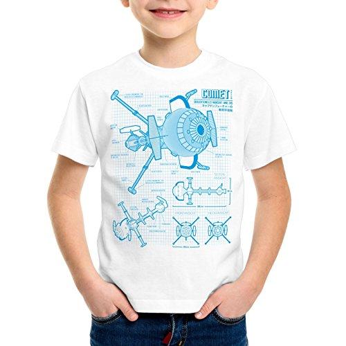 style3 Future Comet Kinder T-Shirt Captain, Farbe:Weiß, Größe:140