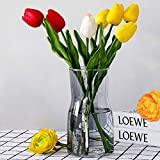 Hey_you Jarrón de cristal transparente, jarrón decorativo de cristal para flores, recipiente para plantas para decoración del hogar, oficina, regalo para bodas, fiestas de inauguración de la casa.