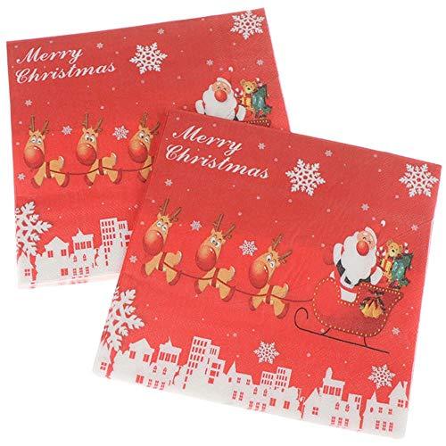Qingb 20pcs / Set Creative Santa Claus Belle Impression Serviettes de Noël Serviettes de Noël Serviettes de Noël pour la fête Home Store, comme pic
