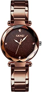 TONSHEN Luxury Fashion Stainless Steel Watch Women and Girl Polygonal Crystal Business Style Casual Dress Elegant Watches Multiple Colour (Brown)