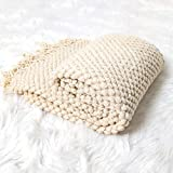 Sofier Soft Throw Blankets with Tassels and Solid Pattern 50'x 60' Knit Throw Blankets for Couch Bed Decoration Living Room Office Travel All Season(Cloudcream)