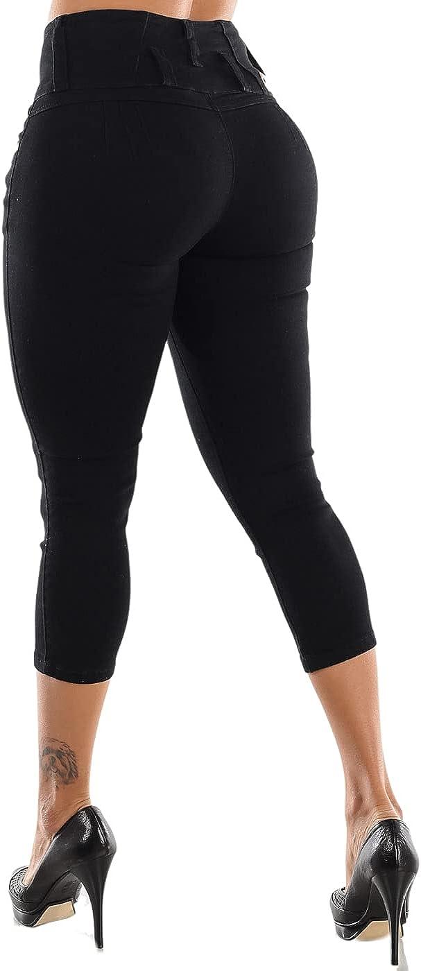 Womens Juniors Denim Mid and High Waist Waisted Butt Lifting Jean Capris Shorts