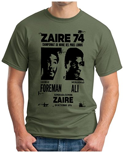 OM3 - ZAIRE74-FOREMAN-vs-ALI - T-Shirt - Rumble In The Jungle Afrika Africa Heavyweight Boxing Fight Champion, L, Oliv