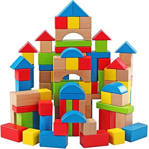 ROCK1ON 100 pièces Colorés Château Blocs de Construction en Bois,Jouets Puzzle éducatifs pour Bébé Fille Garçon Enfants,avec Sac de Transport et conteneur