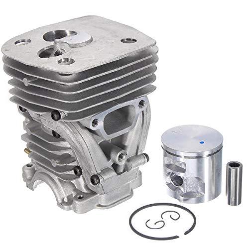 Cilindro del motor de la motosierra de la motosierra de la motosierra de 47 mm reemplaza el pistón de la pieza del cilindro con el kit de anillo compatible para Husqvarna 455 Rancher 455E 460 motosier