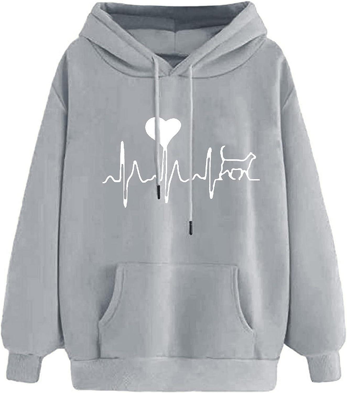 UNBRUVO Graphic Hoodie Women's Casual T-Shirt Long Sleeve Cowl Neck Tunic Sweatshirt Heart Print Tops Blouse