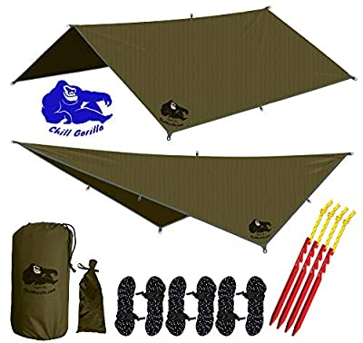 "Chill Gorilla 10x10 Hammock Rain Fly Camping Tarp. Ripstop Nylon. 170"" Centerline. Stakes, Ropes & Tensioners Included. Camping Gear & Accessories. Perfect Hammock Tent. OD Green"