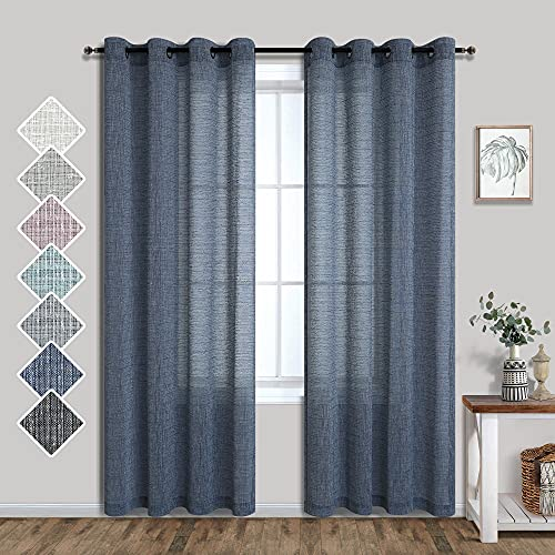 Dark Blue Curtains 84 Inch Length for Bedroom 2 Panels Set Grommet Window Drapes Linen Look Semi Sheer Gauze Modern Curtains for Living Room Dining Country Farmhouse 52x84 Inches Long Denim Navy Blue