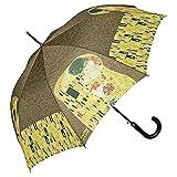 Von LILIENFELD Paraguas de Iluvia Largo Clásico Automático Grande Arte Gustav Klimt: El Beso