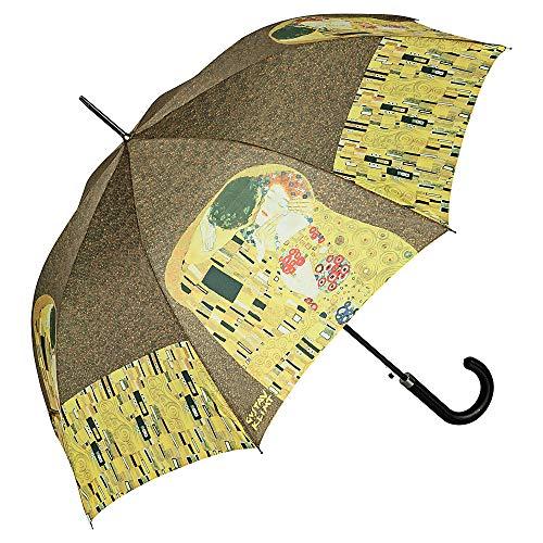 VON LILIENFELD® Ombrello Automatico Pioggia Lungo Classico Donna Arte Gustav Klimt: Il bacio
