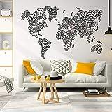 Etiqueta engomada de la pared de la mandala del mapa del mundo,decoración de la pared bohemia,pared del mapa del mundo,etiqueta de la pared del papel pintado de la decoración del hogar A6 65x42M
