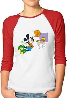 Buecoutes Women's Mickey Dunk 3/4 Sleeve Baseball Tee Raglan T-Shirts Black