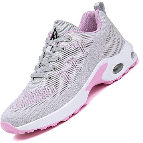 Mishansha Air Zapatos de Running Mujer Antideslizante Zapatillas de Deportes Femenino Ligeros Calzado Jogging Gimnasio Sneakers Gris, Gr.41 EU