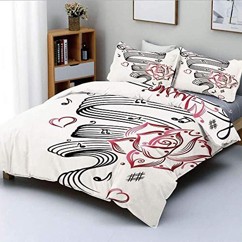 Juego de funda nórdica, dibujo a lápiz, reloj de arena romántico, símbolo de amor eterno con rosas Imprimir Juego de cama decorativo de 3 piezas con 2 fundas de almohada, blanco y negro, el mejor rega