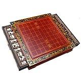 WLD Juego de tablero de ajedrez chino antiguo tridimensional para adultos, figura de madera, escultura de guerreros de terracota, mesa de ajedrez de escritorio con cajones, decoración del hogar,Los 3
